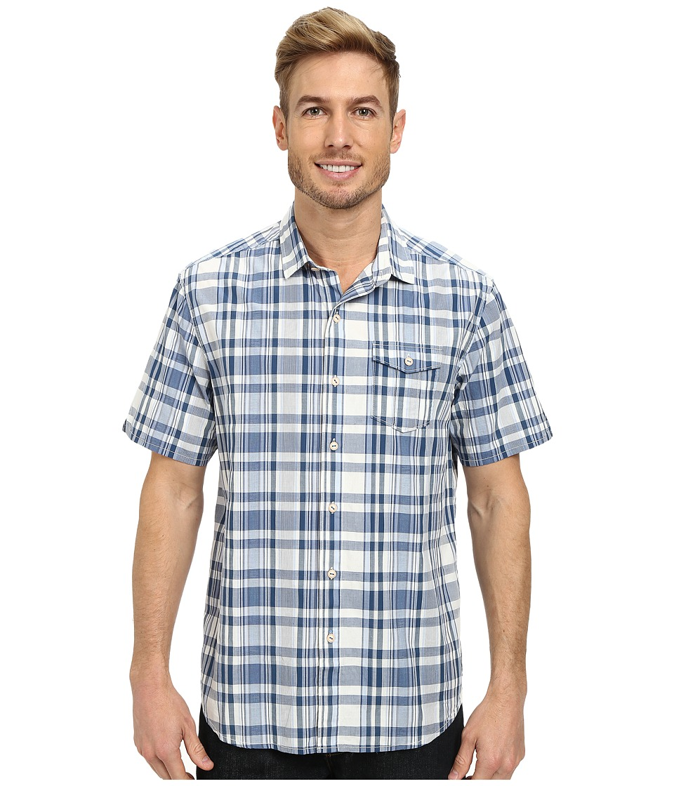 Tommy Bahama - Plaid Zone S/S (Dark Denim) Men's Short Sleeve Button Up