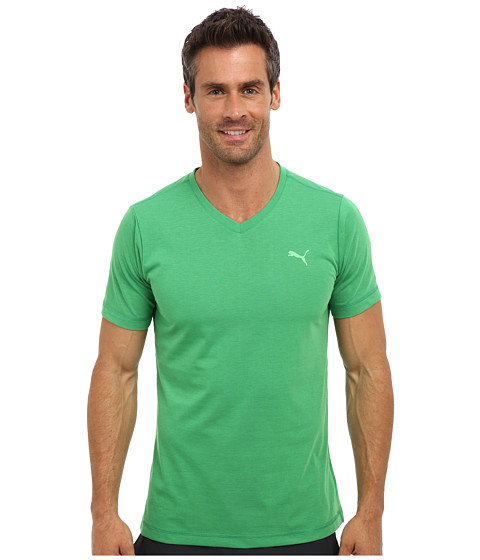 PUMA - Essential Short Sleeve V-Neck (Island Green) Men's Short Sleeve Pullover