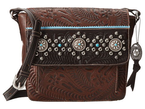 American West - Hayloft Crossbody Flap Bag (Chestnut Brown/Chocolate Brown/Sky Blue) Cross Body Handbags