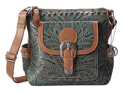 American West - Annie's Secret Collection Crossbody (Turquoise/Tan) Cross Body Handbags