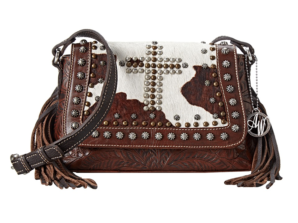American West - Home on The Range Crossbody Flap Bag (Chestnut Brown/Chocolate Brown/Pony Hair) Cross Body Handbags