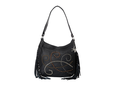 American West - Dream Catcher Slouch Shoulder Bag (Black Fringe) Shoulder Handbags