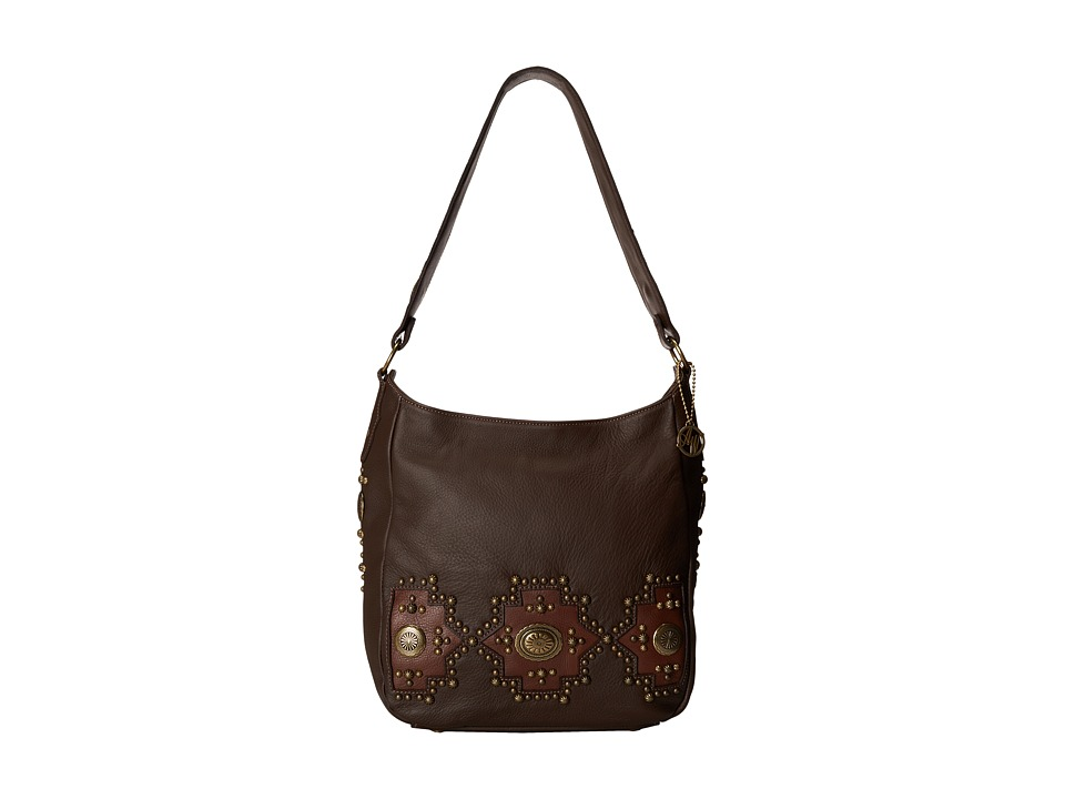 American West - Dream Catcher Slouch Shoulder Bag (Chocolate Brown/Gold) Shoulder Handbags