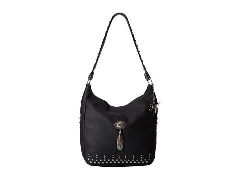 American West - Dream Catcher Slouch Shoulder Bag (Black/Silver) Shoulder Handbags