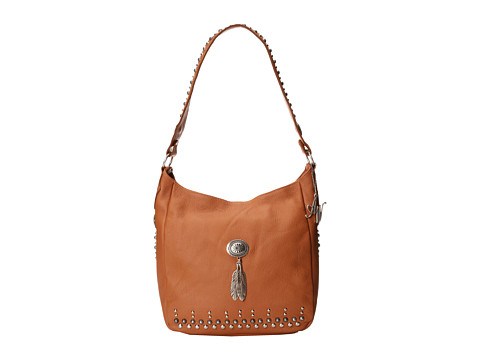 American West - Dream Catcher Slouch Shoulder Bag (Golden Tan/Silver) Shoulder Handbags