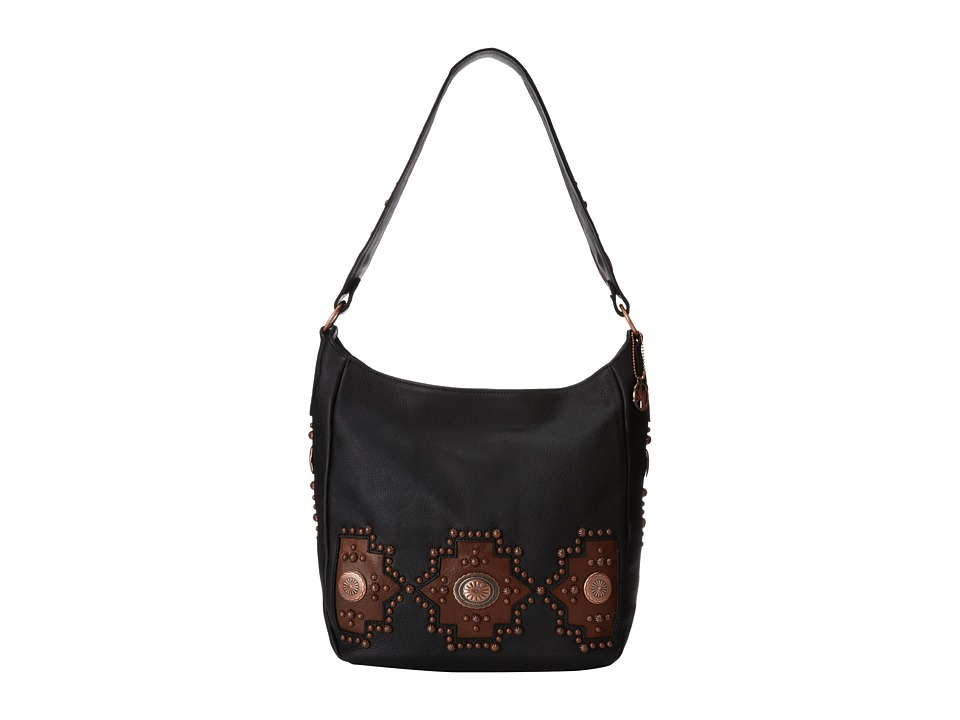 American West - Dream Catcher Slouch Shoulder Bag (Black/Copper) Shoulder Handbags