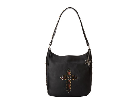 American West - Dream Catcher Slouch Shoulder Bag (Black/Mixed Metal) Shoulder Handbags