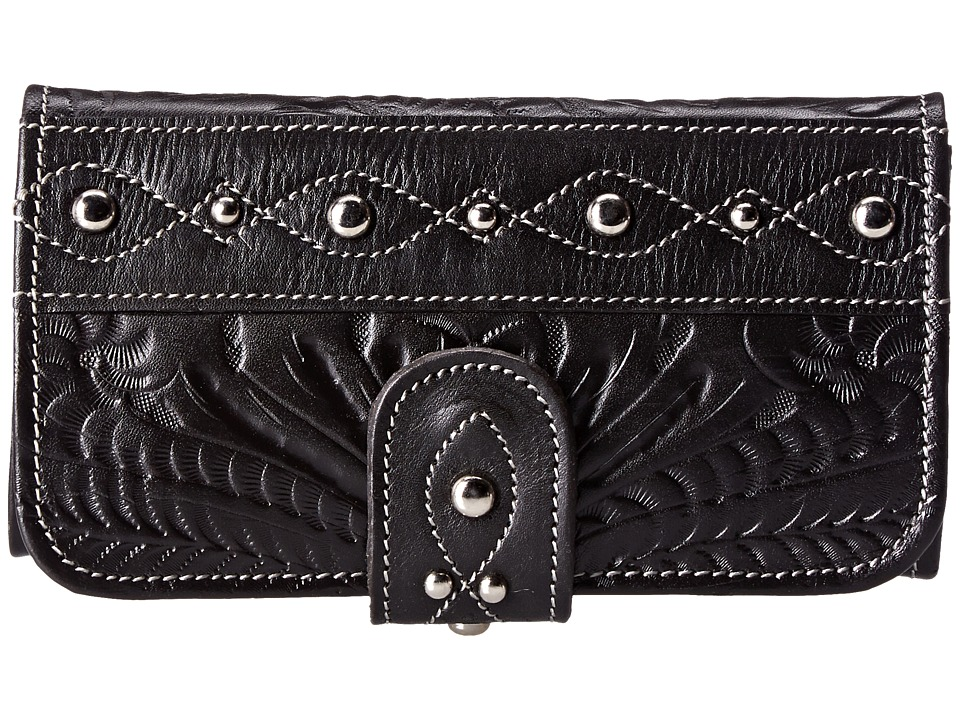 American West - Over The Rainbow Tri-Fold Wallet (Black) Wallet Handbags