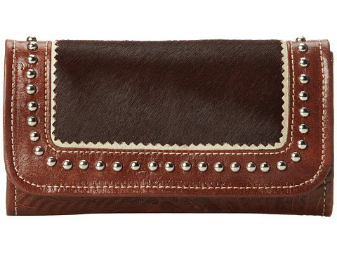 American West - Tulsa Twilight Ladies Tri-Fold Wallet (Tan/Chocolate Hair) Wallet Handbags