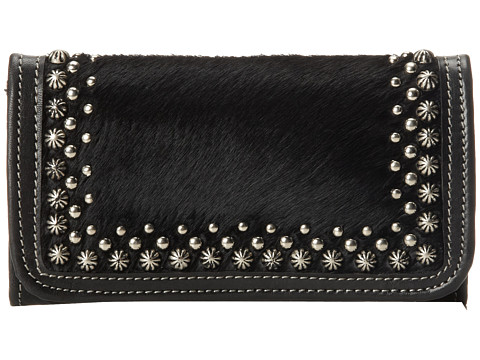 American West - Free Spirit Tri-Fold Wallet (Black/ Black Hair) Wallet Handbags