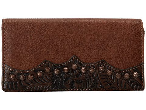 American West - Jackson Hole Flap Wallet (Tan/Embossed Brown) Wallet Handbags