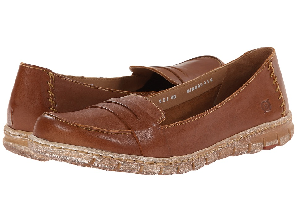 Born - Janina (Whiskey Full-Grain Leather) Women's Slip on Shoes