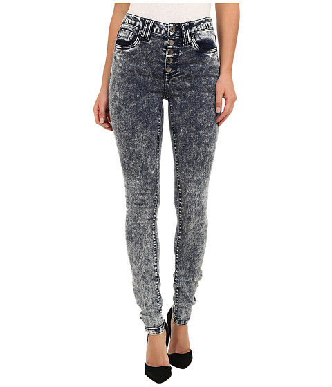 dollhouse - High Rise Exposed Button Acid Skinny Jean in Noise Wash (Noise Wash) Women's Jeans