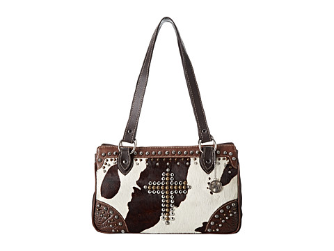 American West - Home on The Range 3-Compartment Tote (Chestnut Brown/Chocolate Brown/Pony Hair) Tote Handbags