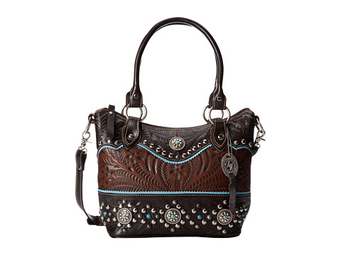 American West - Hayloft Convertible Zip Top Bucket Tote (Chestnut Brown/Chocolate Brown/Sky Blue) Tote Handbags