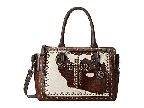American West - Home on the Range Convertible Satchel (Chestnut Brown/Chocolate Brown/Pony Hair) Satchel Handbags