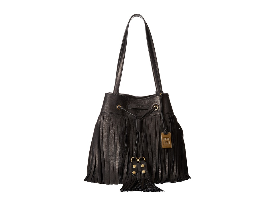 Frye - Heidi Fringe Bucket (Black Soft Vintage Leather) Shoulder Handbags