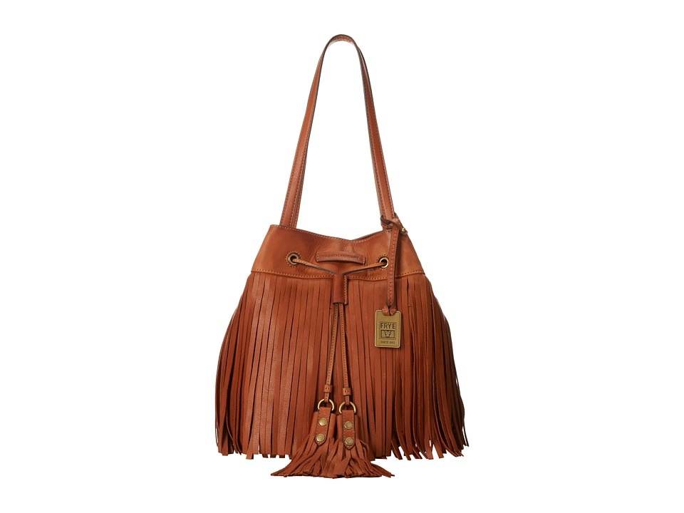 Frye - Heidi Fringe Bucket (Whiskey Soft Vintage Leather) Shoulder Handbags