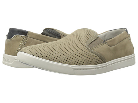 Clarks - Newood Easy (Taupe Nubuck) Men's Slip on Shoes
