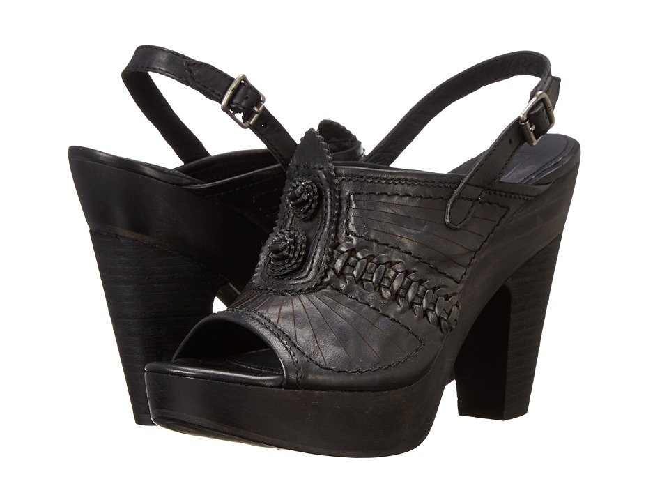 Frye - Anya Concho Sling (Black Smooth Vintage Leather) High Heels