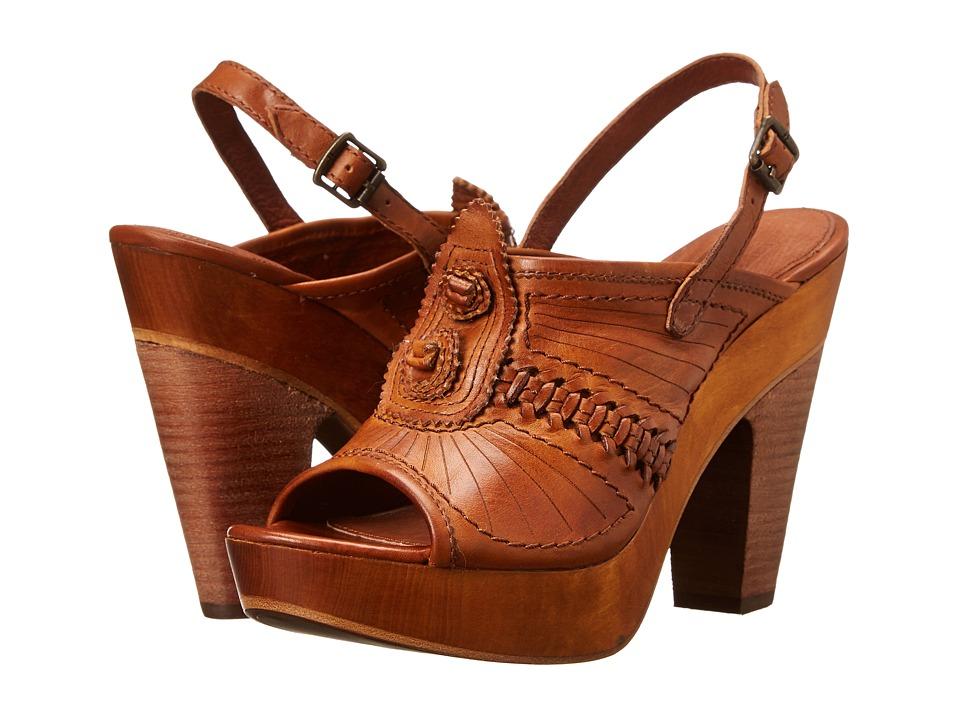 Frye - Anya Concho Sling (Brown Smooth Vintage Leather) High Heels
