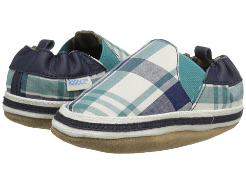 Robeez - Jackson Plaid Soft Soles (Infant/Toddler) (Navy) Boy