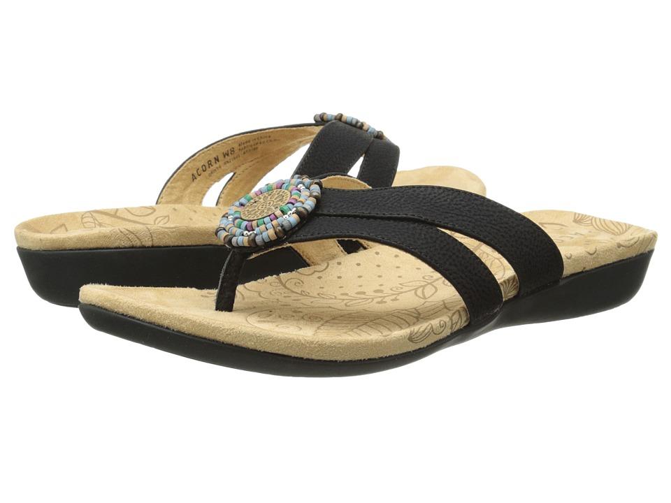Acorn - Samoset Thong (Black Shell) Women's Shoes