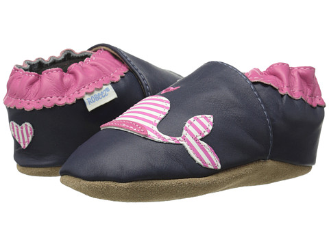 Robeez - Kelly the Whale Soft Soles (Infant/Toddler) (Navy Nubuck) Girl