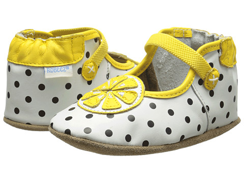 Robeez - Lemon Drop Mary Jane Soft Soles (Infant/Toddler) (White w/ Dots) Girl's Shoes