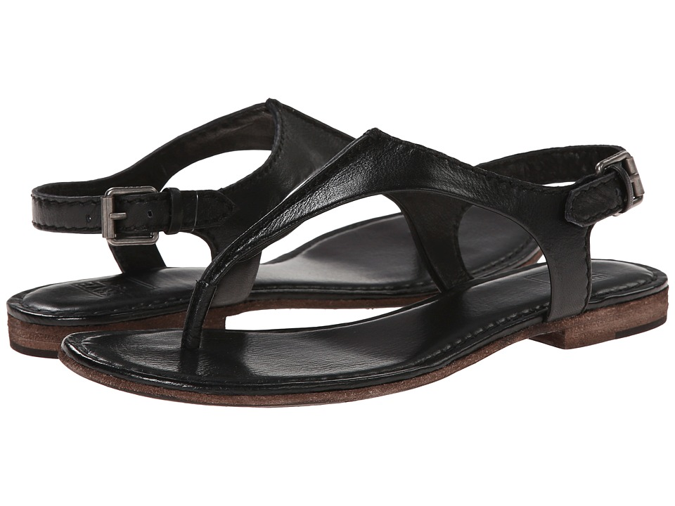 Frye - Carson Seam T (Black Soft Vintage Leather) Women's Sandals