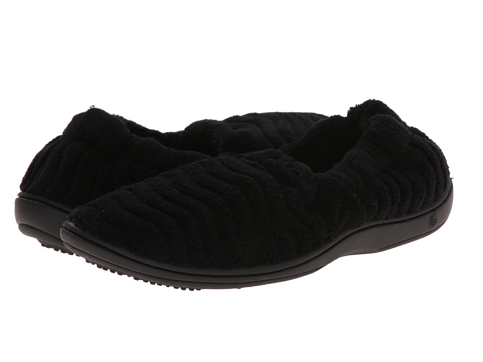 Acorn - Spa Support Moc (Black) Women's Slippers