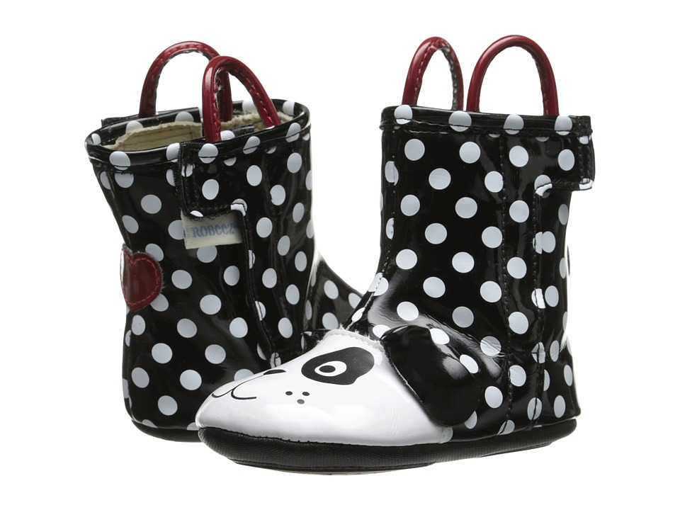 Robeez - Pepper Rainboot Mini Shoez (Infant/Toddler) (Black/White) Girls Shoes