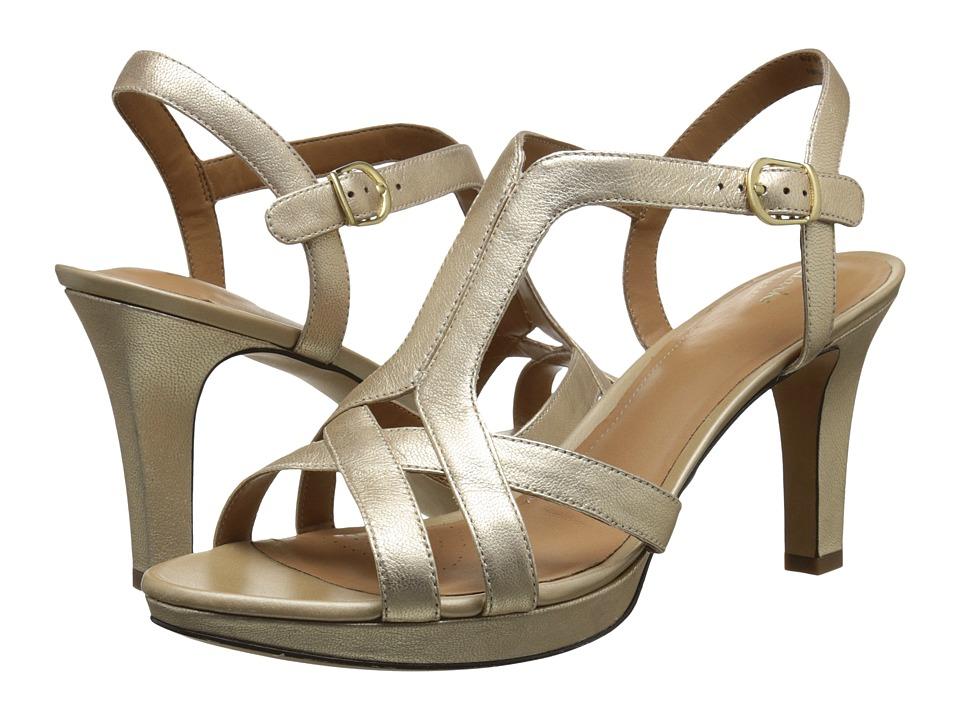 Clarks - Delsie Risa (Gold Metallic Leather) Women's 1-2 inch heel Shoes