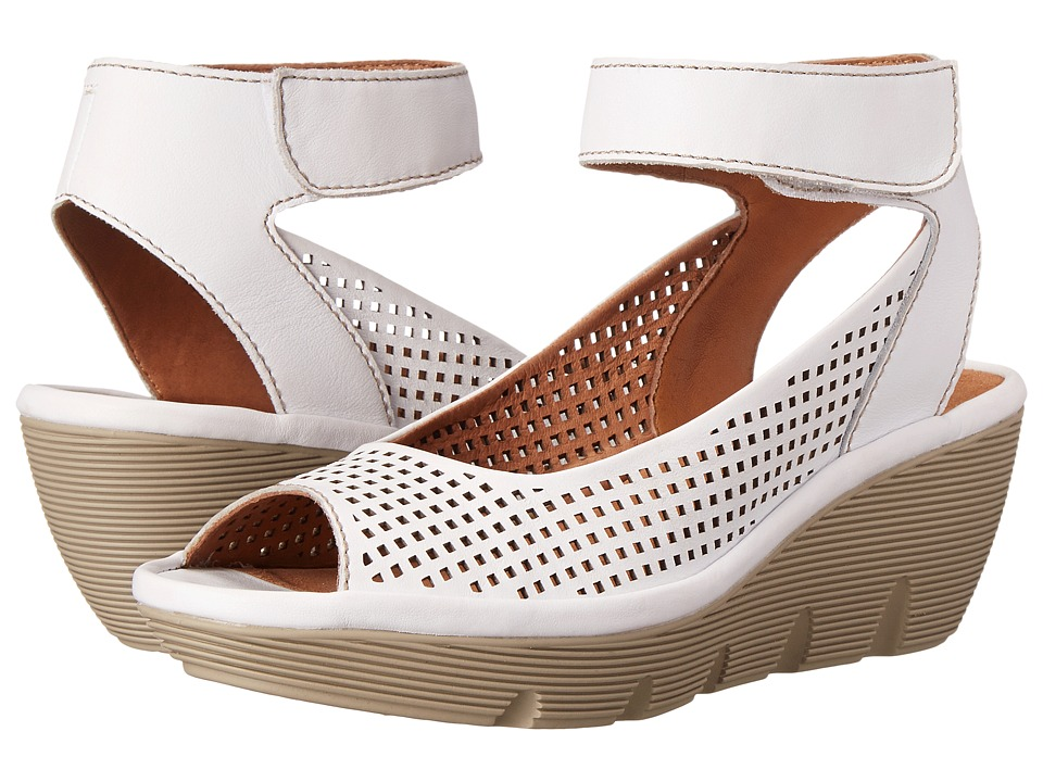 Clarks - Clarene Prima (White Leather) Women's Wedge Shoes