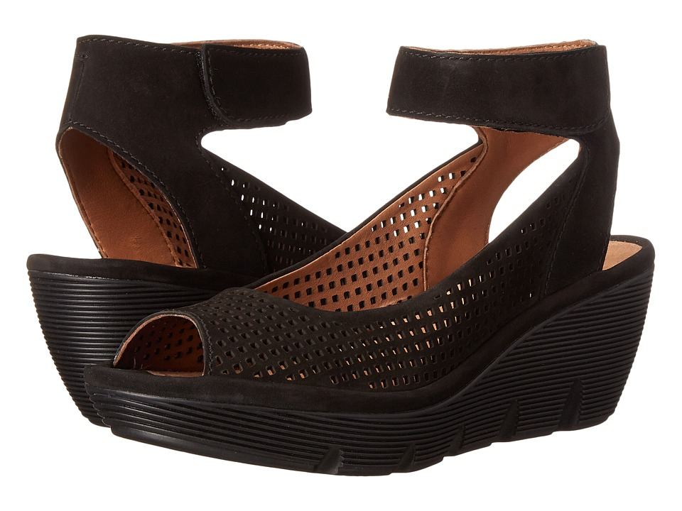 Clarks - Clarene Prima (Black Nubuck) Women's Wedge Shoes