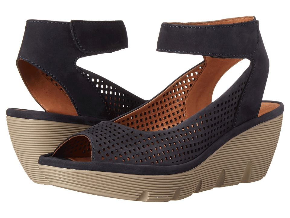 Clarks - Clarene Prima (Navy Nubuck) Women's Wedge Shoes