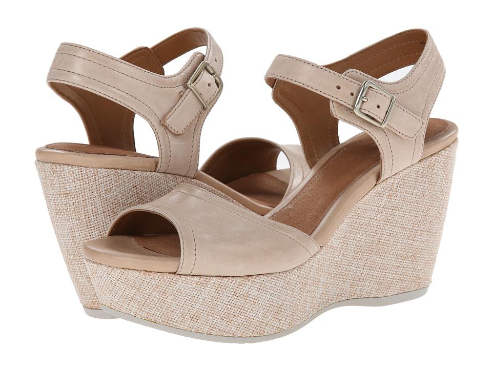Clarks - Nadene Lola (Beige Leather) Women's Wedge Shoes