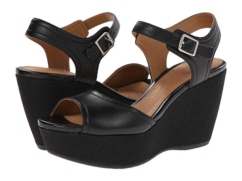 Clarks - Nadene Lola (Black Leather) Women's Wedge Shoes