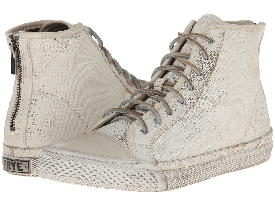 Frye - Greene High Back Zip (Off White Painted Canvas) Women