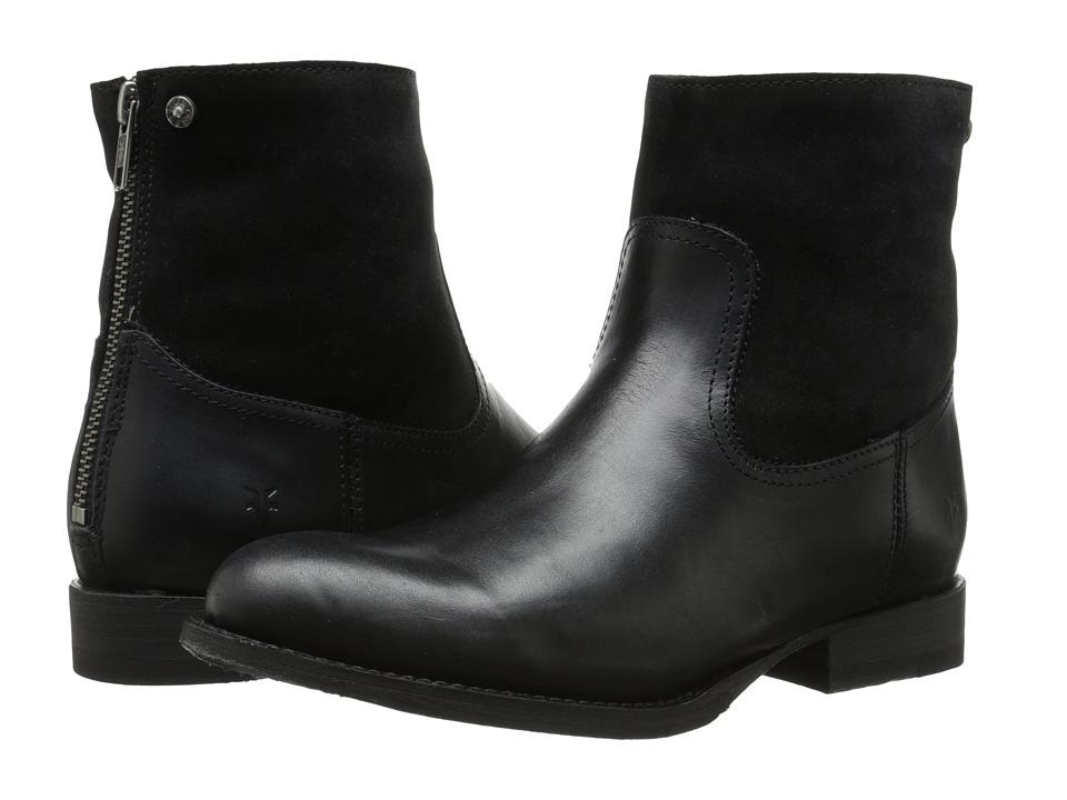 Frye - Jamie Zip Bootie (Black Smooth Vintage Leather/Oiled Suede) Cowboy Boots