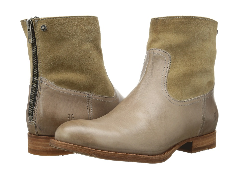 Frye - Jamie Zip Bootie (Grey Smooth Vintage Leather/Oiled Suede) Cowboy Boots