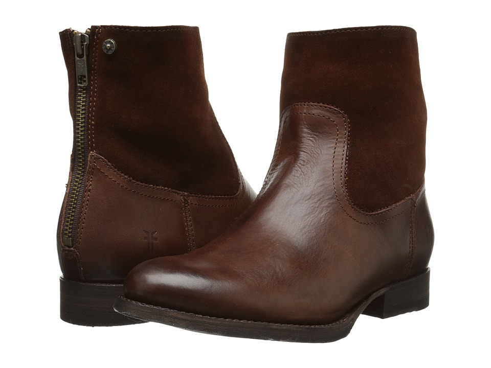 Frye Jamie Zip Bootie (Redwood Smooth Vintage Leather/Oiled Suede) Cowboy Boots