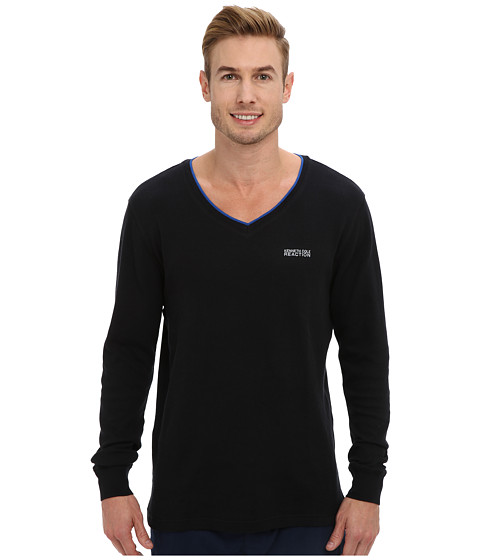 Kenneth Cole Reaction - Long Sleeve Thermal Sleep V-Neck Tee (Black) Men's Pajama