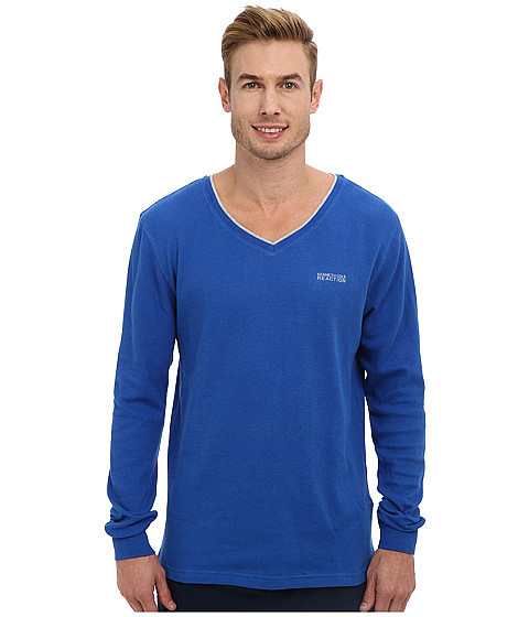Kenneth Cole Reaction - Long Sleeve Thermal Sleep V-Neck Tee (Turkish Blue) Men