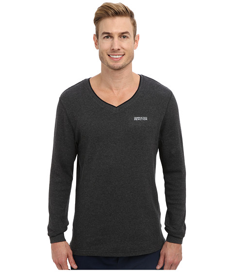 Kenneth Cole Reaction - Long Sleeve Thermal Sleep V-Neck Tee (Dark Grey Heather) Men