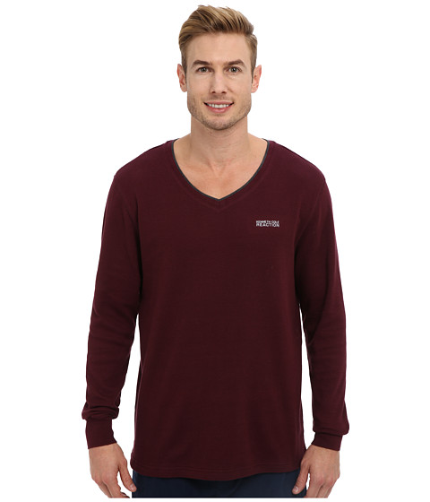 Kenneth Cole Reaction - Long Sleeve Thermal Sleep V-Neck Tee (Fig) Men's Pajama