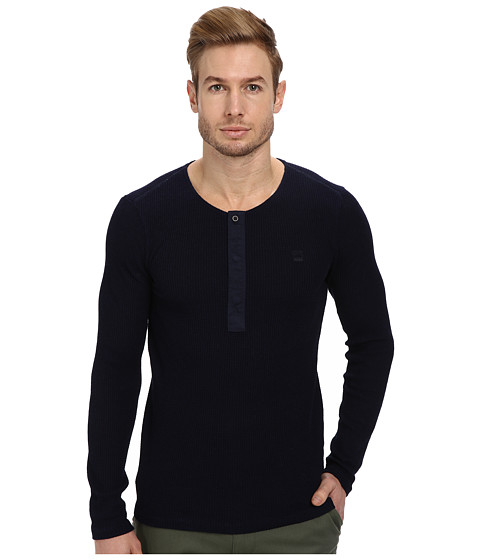 G-Star - Granddad R L/S Tee (Indigo) Men's Long Sleeve Pullover