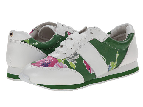 Kate Spade New York - Sidney (Lucky Green Spring Blooms Print Leather/White Nappa) Women