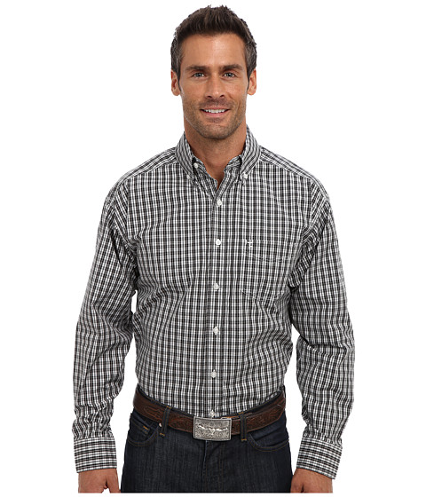Tuf Cooper by Panhandle - L/S Button Down Shirt (Black) Men's Long Sleeve Button Up
