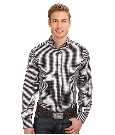 Tuf Cooper by Panhandle - L/S Light Check Button Down Shirt (Brown) Men's Long Sleeve Button Up